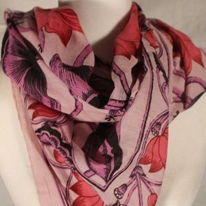 Accessories - Pink & purple scarf with flowers and birds, 42x42
